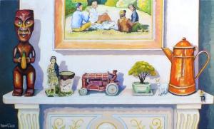 Tekoteko on Mantlepiece oils on canvas - 1120 x 765 mm $4200