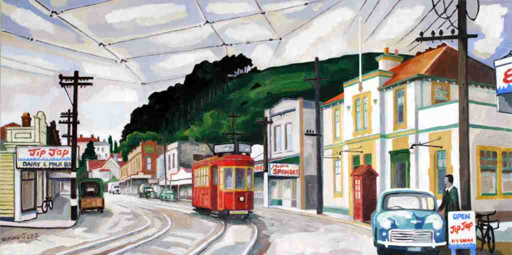 Mt. Eden_1953 oil on canvas 1000mm x 500mm $2200