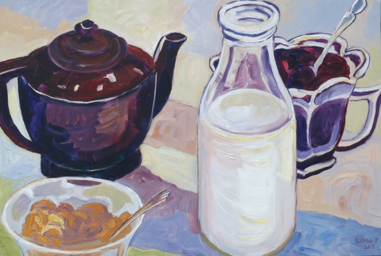 New Zealand Breakfast Table 1953 600 x 400 mm oils on board $450