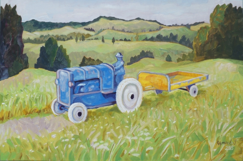 Retro Tractor Northland 600 x 400 mm oils on board $450