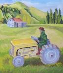 Te Karaka Farm with Ferguson Tractor 1950s oils on canvas 630 x 550 mm $700