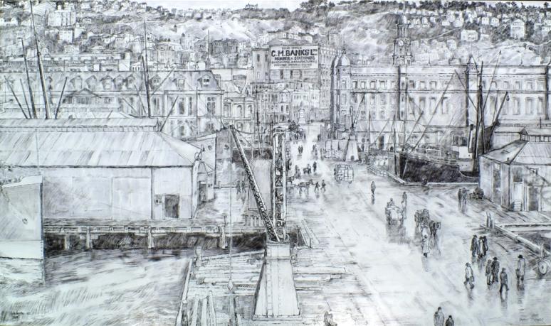 Wellington. Queen's Wharf - 1909 low
