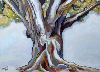 Space is Defined by the Presence of the Tree = 948 x 710mm - oils on canvas